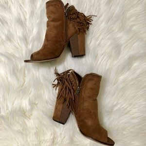 Trendy Peep Toe Suede Ankle Boots